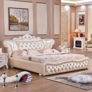 简约欧式真皮床实木手工雕花皮艺软床双人大床B001