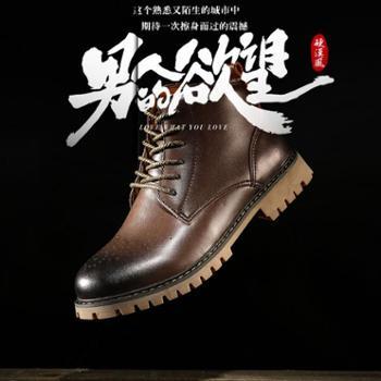 杰绅卡JSNK真皮意式马丁靴男鞋英伦贵族休闲皮鞋经典潮流牛皮布洛克马丁靴男靴子