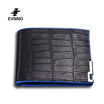 意威诺(evnno)短款钱包超薄鳄鱼纹头层牛皮钱夹Q0452
