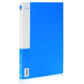 得力办公 得力5308 A4 8寸长押夹加插袋文件夹档案夹 单夹蓝色