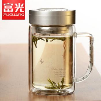 富光双层玻璃杯耐热带盖茶杯男女士办公杯大容量杯子便携过滤茶杯