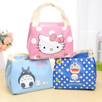 韩版可爱萌物布艺送餐便当保温包防水牛津布午餐包带拉链饭盒包单个