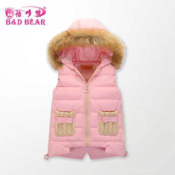 2016新款韩版儿童羽绒背心 女童加厚保暖马甲 中大童外穿羽绒外套