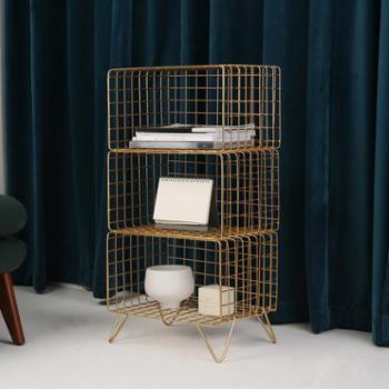 北欧ins铁艺落地书架客厅多层杂志架卫生间收纳架简易创意置物架