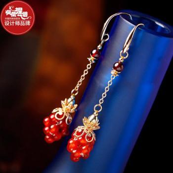 凤凰涅磐耳环女时尚石榴石红玛瑙镀真金耳饰复古中国风手工饰品