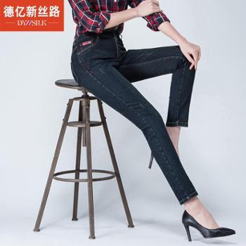德亿新丝路2016春季新款牛仔裤女裤显瘦铅笔裤小脚长裤X169037