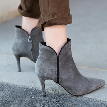 善融优惠GO 限购1件当季新款羊翻皮侧拉链细高跟套脚女短靴 DB11