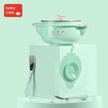 babycare316不锈钢宝宝餐具套装儿童注水保温碗叉勺三件套