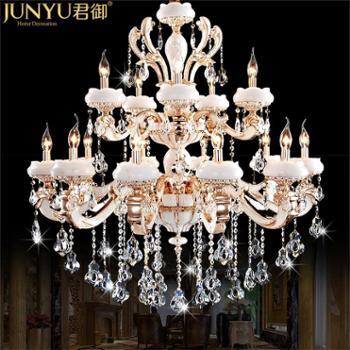 欧式客厅大吊灯树脂仿玉石水晶灯复式楼别墅水晶吊灯餐厅灯饰9825