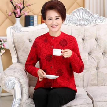 恩德兰派中老年加厚长袖羊毛衫女圆领羊毛针织衫大码妈妈毛衣