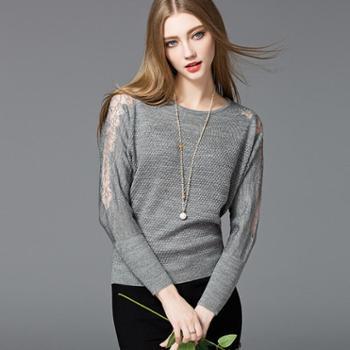春季新款女士蕾丝镂空蝙蝠袖针织衫圆领毛衣春装打底衫女