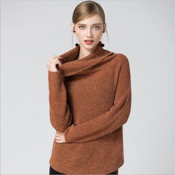 秋冬新款上衣外搭毛衣女装粗针宽松套头堆堆领不规则时尚针织衫女恩德兰派服饰