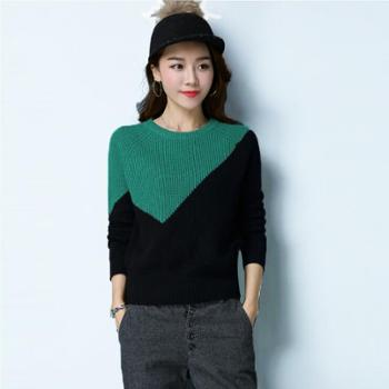 恩德兰派女式韩版圆领长袖羊毛衫时尚撞色全羊毛厚打底毛衣