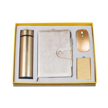 礼信MIDU节日送礼 送老师 商务保温杯5件套 保温杯+记事本+签字笔+无线鼠标+金色PU夹