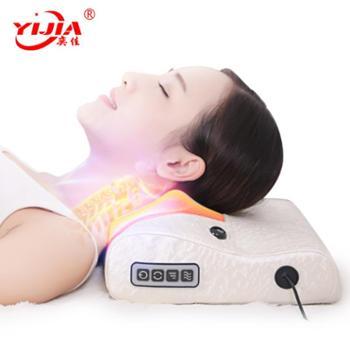 奕佳YJ-A8米白色多功能电动按摩枕头颈椎按摩器颈部腰部腿部保健按摩器材按摩靠垫车家两用