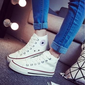 高帮帆布鞋男女平底韩版潮白色布鞋女学生春板鞋系带休闲情侣球鞋