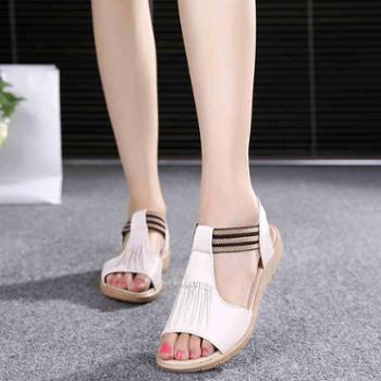 水晶女夏2016项链平底罗马鞋坡跟露齿鱼嘴鞋狼牙时尚凉鞋
