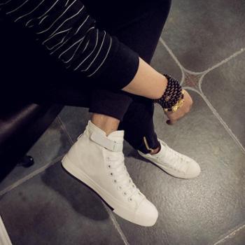 春夏季男士潮流高帮男鞋子纯白色布鞋男情侣款男生帆布鞋韩版板鞋