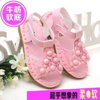 2016夏季新款韩版儿童鞋 牛筋软底 宝宝女童凉鞋 花朵公主 沙滩鞋