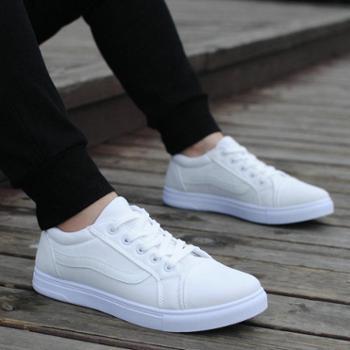 春季新款男士休闲鞋透气帆布鞋男布鞋系带白色学生韩版潮板鞋男鞋