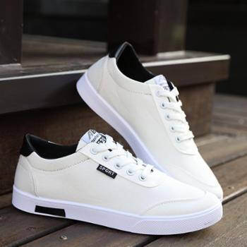 小白鞋男韩版系带百搭平底学生帆布夏季休闲款透气青少年板鞋