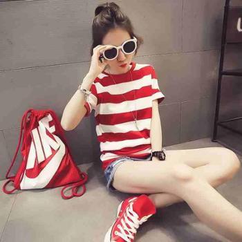 女装夏装新款潮韩版学生宽松海军风条纹短袖T恤女上衣女夏季