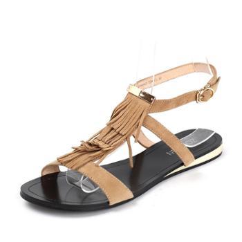Westlink西遇女鞋2016夏季新款平底流苏羊皮低跟凉鞋女夏鞋子ZG
