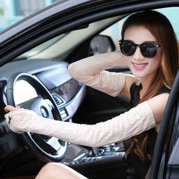 防晒袖套女夏开车蕾丝手套女春秋薄款长款防晒半指骑车手臂套
