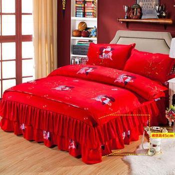 全棉床罩床裙四件套纯棉秋冬磨毛婚庆大红被罩套1.8/2.0m床品双人