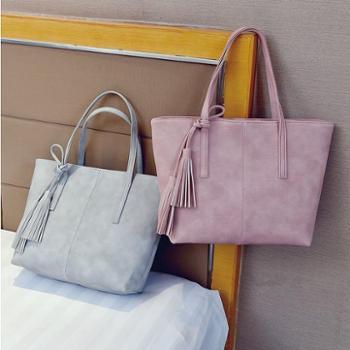 包包女潮韩版新款学生托特包大容量手提包简约百搭流苏单肩包