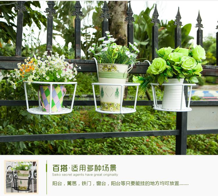 欧式铁艺吊兰绿萝花架栏杆护栏挂式阳台壁挂悬挂花架
