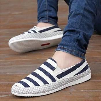 秋季帆布鞋男士懒人男鞋子透气老北京布鞋板鞋一脚蹬韩版休闲潮鞋