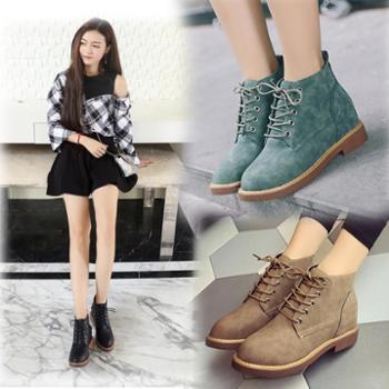 女靴靴子短靴女秋冬季加绒裸靴短筒雪地靴棉鞋系带马丁靴女鞋子