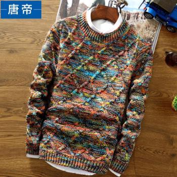冬季男士线衣加厚针织衫圆领学生假两件外套青少年毛衣男韩版修身