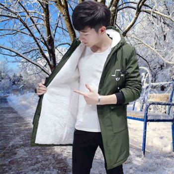 冬季外套男韩版中长款风衣潮流加厚冬装棉衣男士新款加绒夹克