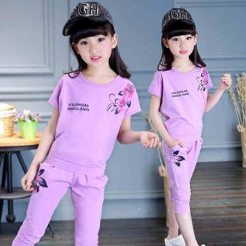 童装女童夏装2017新款儿童套装女孩短袖衣服女大童夏季运动两件套