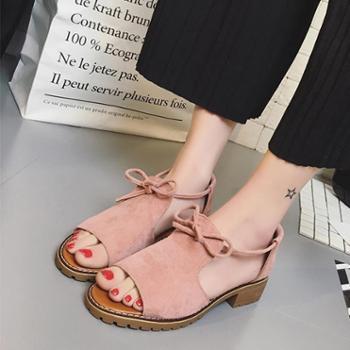 韩版新款平底女鞋厚底英伦学院风凉鞋女2017夏学生粗跟百搭罗马鞋