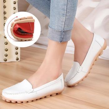 真皮平底小白鞋镂空妈妈鞋大码女鞋豆豆鞋护士鞋休闲孕妇单鞋