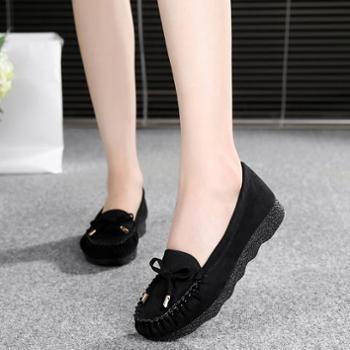 老北京布鞋女鞋豆豆鞋平底蝴蝶结单鞋百搭网鞋黑色工作鞋女休闲鞋