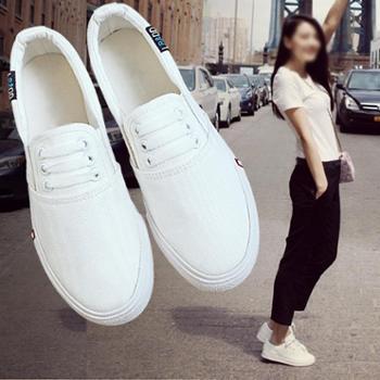秋季新款帆布鞋女鞋一脚蹬懒人布鞋韩版百搭小白鞋学生白鞋秋