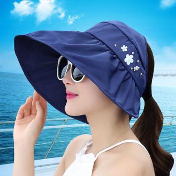 女夏遮阳帽夏天女士潮防紫外线大沿沙滩太阳帽防晒可折叠