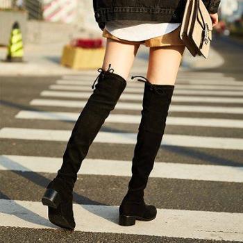 过膝长靴女高筒靴秋冬新款长筒靴粗跟靴子高跟显瘦弹力靴女鞋