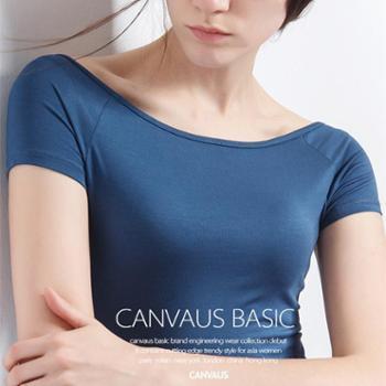 CANVAUS莫代尔纯色黑色短袖修身插肩一字肩半袖一字领t恤女