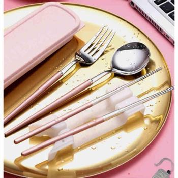 便携筷子勺子套装餐具三件套成人不锈钢叉子韩国学生可爱筷盒