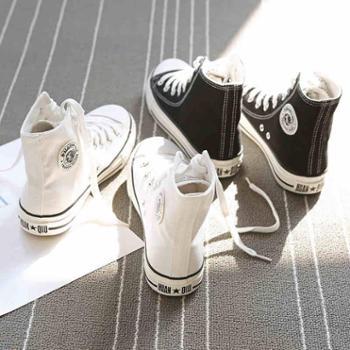环球新款布鞋黑高帮帆布鞋女学生韩版原宿ulzzang百搭板鞋潮