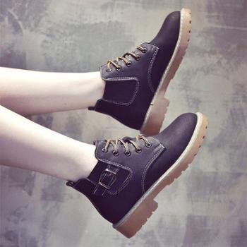 马丁靴女秋季新款百搭韩版短筒单靴高帮皮鞋冬学生瘦瘦短棉靴
