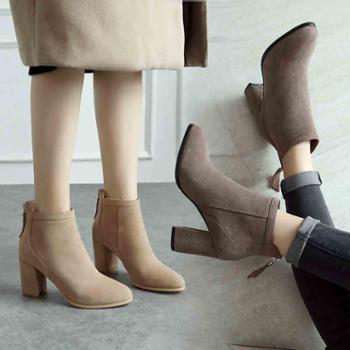 欧洲站新款秋冬韩版高跟靴女韩版真皮短靴女靴马丁靴棉靴小码