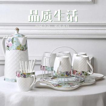 冷水壶凉水壶茶具茶壶茶杯水杯子套装陶瓷家用杯具欧式客厅6只装