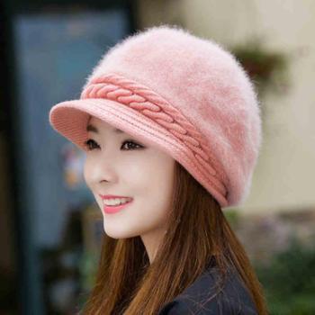 兔毛帽子女秋冬季时尚潮韩版新款可爱百搭保暖冬天针织毛线帽