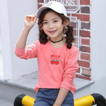 円潮区童装女童长袖T恤春秋洋气打底衫中大童纯棉体恤新款儿童春装